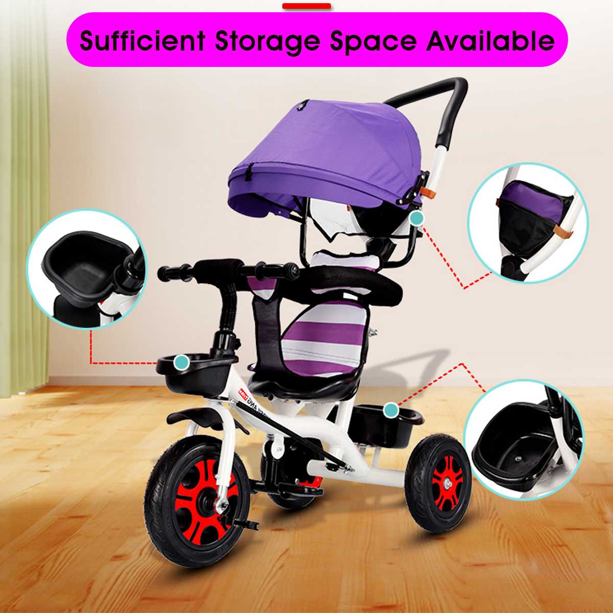 Baby Trolley Baby Bike Children Tricycle with Hand Push Baby Stroller Bikes Kids 1 3 5 Bikes