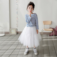 new 2019 teenager clothes set casual striped t shirt mesh skirt kids girl clothes set for 3~12 age teenager girls cloth outfits