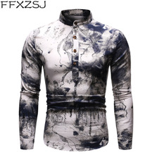 FFXZSJ men's spring/autumn printed long-sleeved daily breathable linen shirt with stand-up collar and floral shirt European size 2019men slim plain long sleeved fashionable stand up collar shirt and shirt