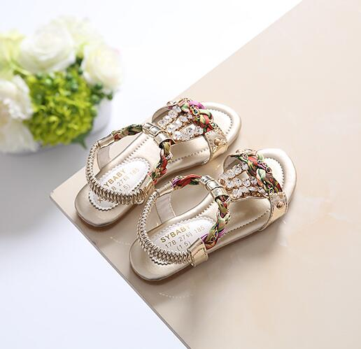 4ddd92c981 US $14.25 |Bohemian Style Rhinestone Beading Girls Sandals Princess Beach  Flat Sandals Gold, Silver, Pink Size 31 36-in Sandals from Mother & Kids on  ...