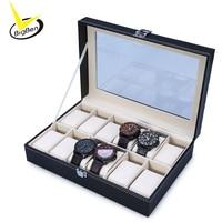 2016 New Arrival PU Leather 12 Slots Wrist Watch Display Box Storage Holder Organizer Case Jewelry