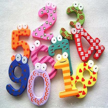 10Pcs/LOT Numbers Cartoon Educational Toy Wooden Fridge Magnet For Baby Kid Gift B153-1(China)