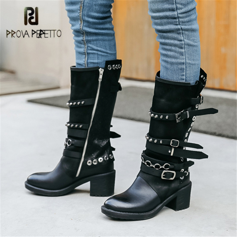 Prova Perfetto Black Women High Boots Rivet Studded High Heel Botas Mujer Straps Platform Rubber Boots Autumn Winter Botte Femme prova perfetto women knee high boots red suede female chunky high heel boots straps autumn winter platform rubber botas mujer