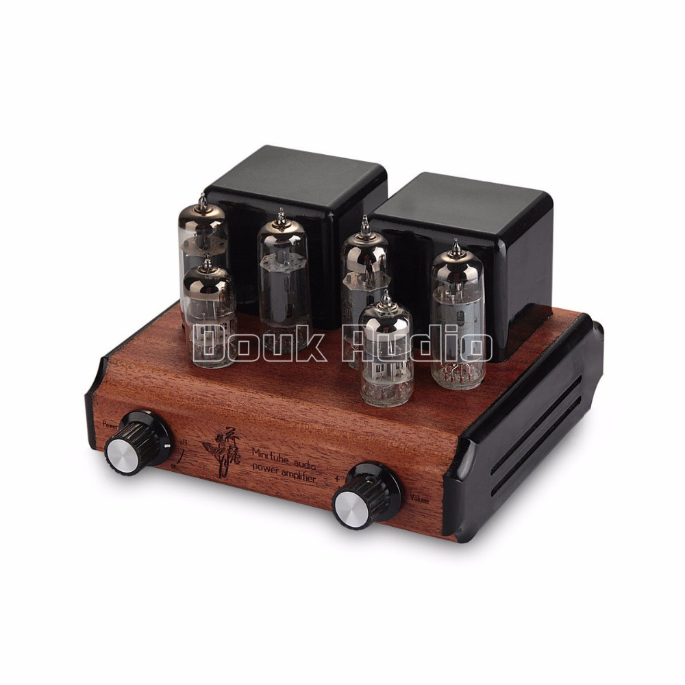 Douk Audio Mini 6N2+6P1 Push-Pull Vacuum Tube Integrated Amplifier HIFI Power AMP 8W*2 Pure handmade Wood Chassis 3206 amplifier aluminum rounded chassis preamplifier dac amp case decoder tube amp enclosure box 320 76 250mm
