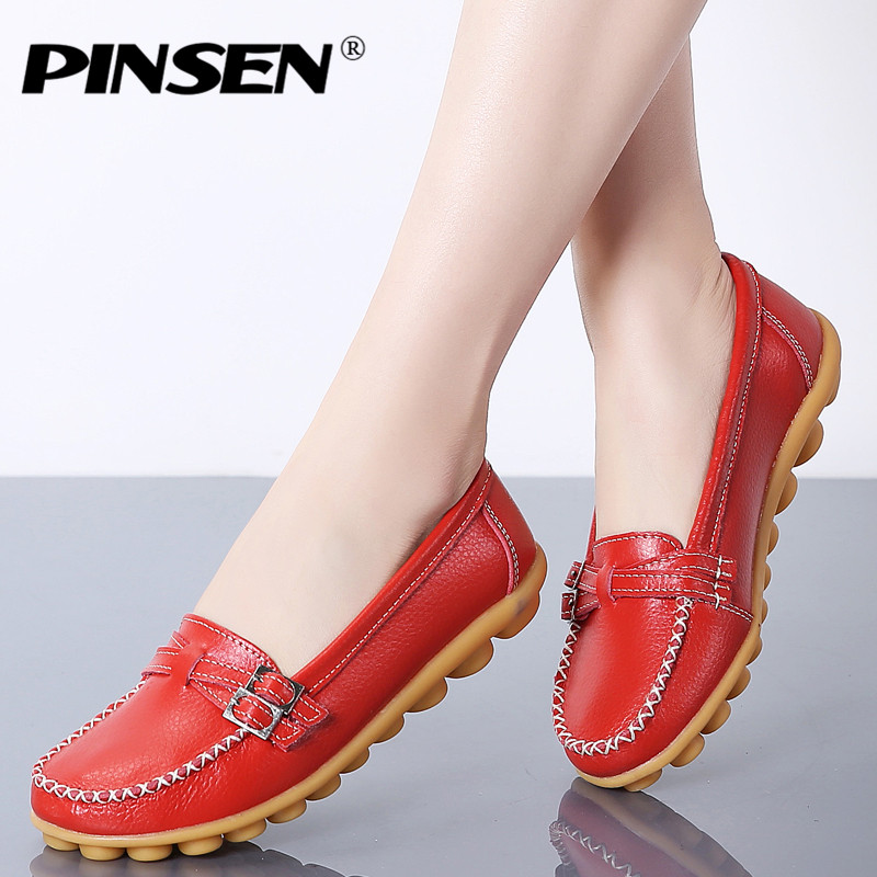 PINSEN New Women Ballet Flats Shoes Loafers Women Genuine Leather Female Flats Moccasins Ladies Ballerina Flats Shoes creepersPINSEN New Women Ballet Flats Shoes Loafers Women Genuine Leather Female Flats Moccasins Ladies Ballerina Flats Shoes creepers