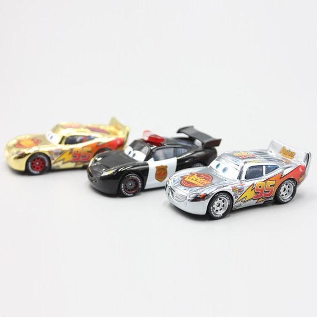 online shop pixar cars 3pcs lot gold silver police lightning mcqueen