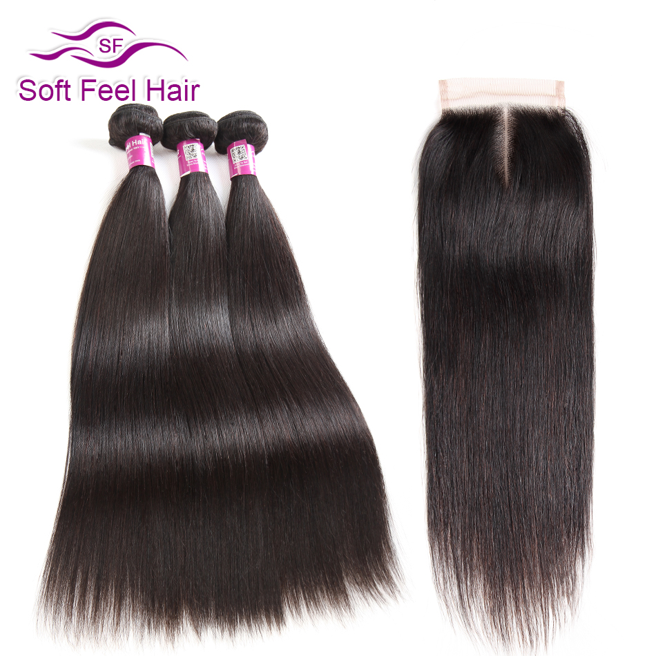 Soft Feel Hair Remy Straight Hair Bundles With Closure Peruvian Hair Bundles Human Hair 3 Bundles
