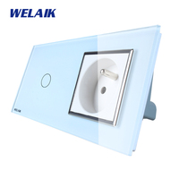 WELAIK Brand 2Frame Crystal Glass Panel Wall Switch EU Touch Switch Screen Wall France Socket1gang1way AC110