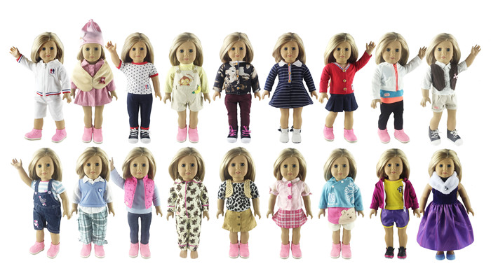 Fashion 5 Set Doll Clothes for 18 Inch American Girl Handmade Casual Wear Clothes new style 10 set doll clothes for 18 inch american girl handmade casual wear