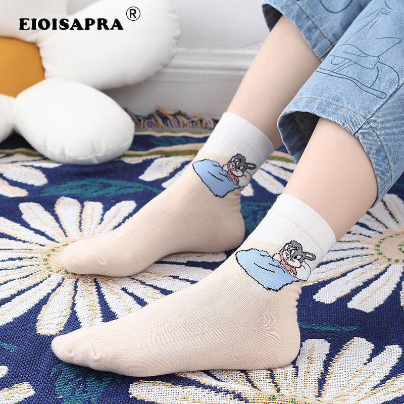 Korean Style Women Socks Fashion Vintage Kawaii Cartoon Frog Rabbit Tide Socks Casual Harajuku Jacquard Breathable Cute Socks