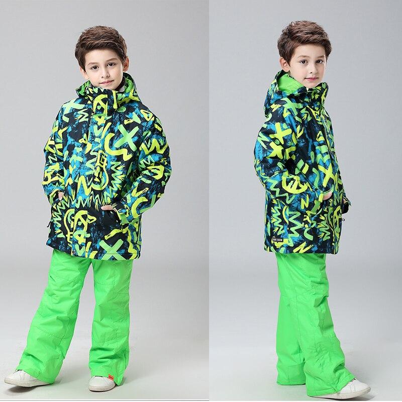 Gsou Snow Hiver Enfants Vêtements Ensembles Coupe-Vent Waterpfoof Garçons Ski Costume Chaud Garçons Ski Vestes Pantalon 2 pcs Enfant Vêtements Ensemble