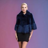 2015 Winter New 100 Natural Beautiful Dark Blue Leather Sheepskin Fur Coat Sleeve Ladies Wear On