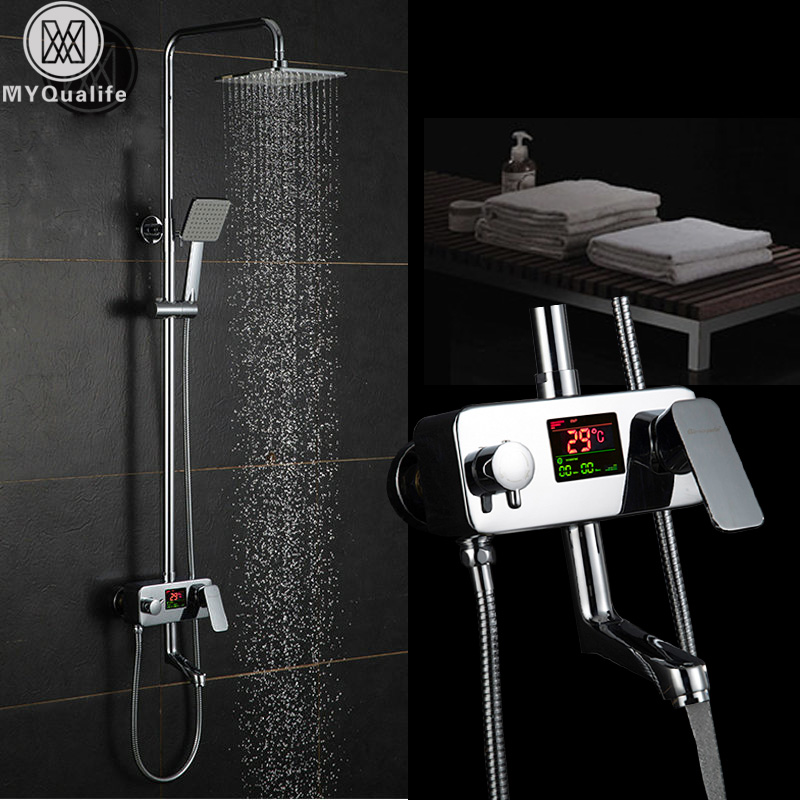 Chrome Digital Shower Faucet Single Handle Bath Shower Faucet System Anti Ironing Temperature Display Shower Mixer