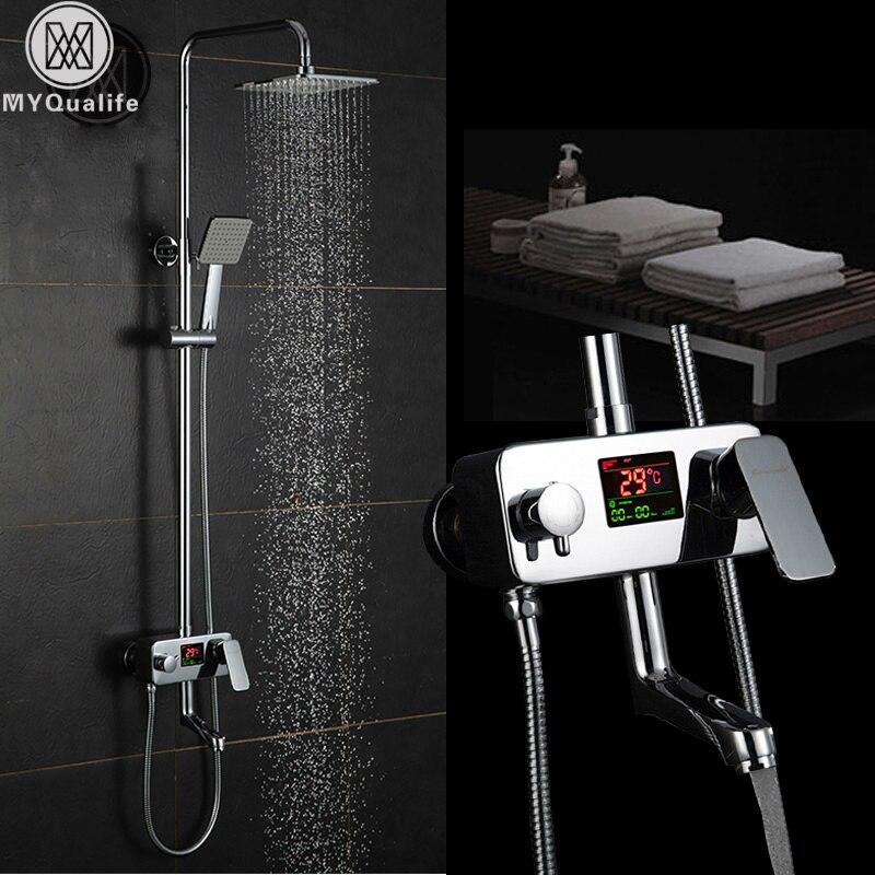 Chrome Digital Shower Faucet Single Handle Bath Shower Faucet System Anti Ironing Temperature Display Shower Mixer Swivel Spout