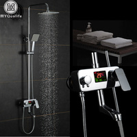 Chrome Digital Shower Faucet Single Handle Bath Shower Faucet System Anti Ironing Temperature Display Shower Mixer Swivel Spout