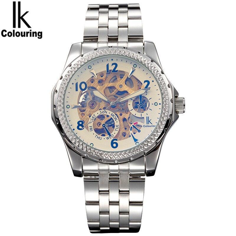 IK 2017 Luxury Mens Relogio Masculino Skeleton Dial Horloge Auto Mechanical Wristwatch Original Box Free Ship