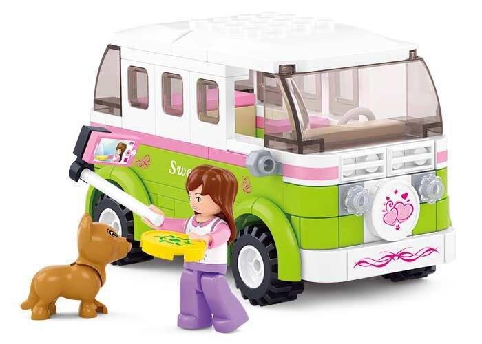 Sluban Pink Supermarket Delivery Courier Car Travel Building Block Bricks Sets Model Toys For Children Gifts Lepin Compatible ...