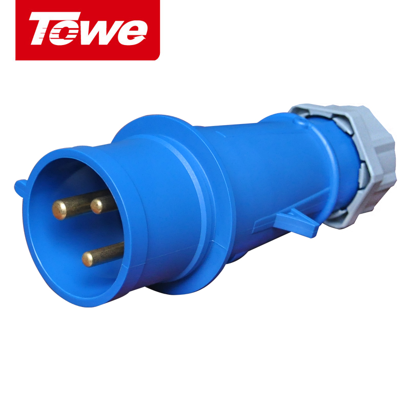 Towe Industrial Connector IPS-P363  63A  3 Pins  2P+E  Male   IP67Towe Industrial Connector IPS-P363  63A  3 Pins  2P+E  Male   IP67