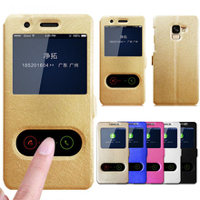 Flip Case For Samsung Galaxy A8 2018 Case For Samsung Galaxy A8 Plus 2018 Quick Window Wallet Case For Samsung A8+ Phone Cases цена и фото