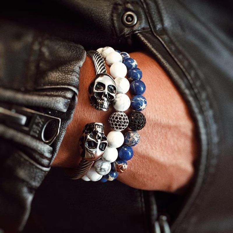 Mcllroy Herren Jungen Gothic Punk Schädel Silber Ton Titan Stahl Manschette Armreif Armband Viking stahl skeleton manschette armreifen pulseiras