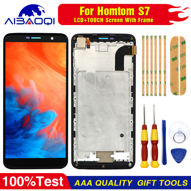 New Touch Screen LCD display LCD screen for HOMTOM S7 screen with Frame replacement parts + removal tool + 3M adhesive
