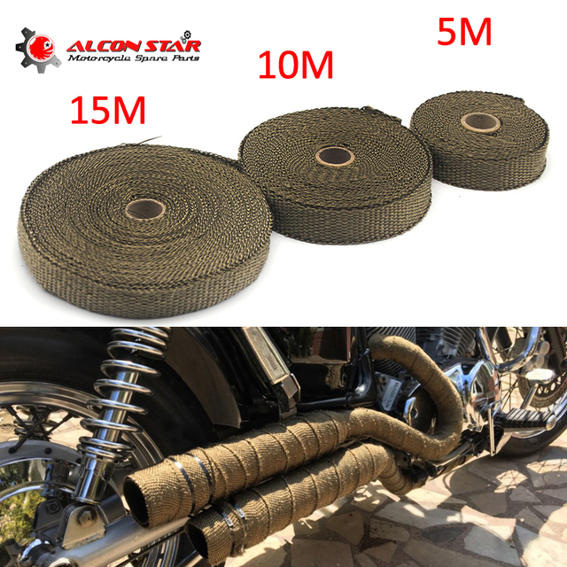 Alconstar- 5M/10M/15M Motorcycles Exhaust Front Pipe Heat Shield Tape Wrap Insulation Resistant Downpipe with Stainless Ties