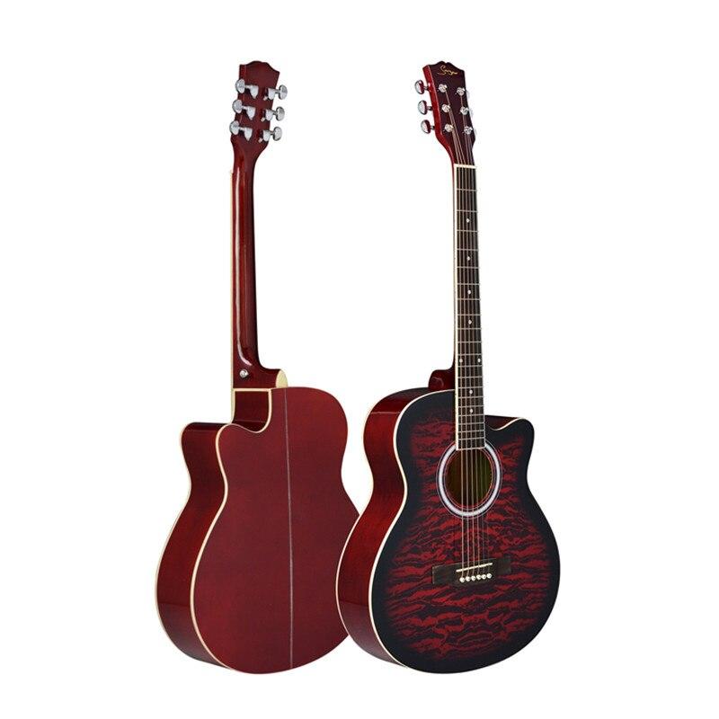 40 polegada guitarra acústica preto vermelho amarelo