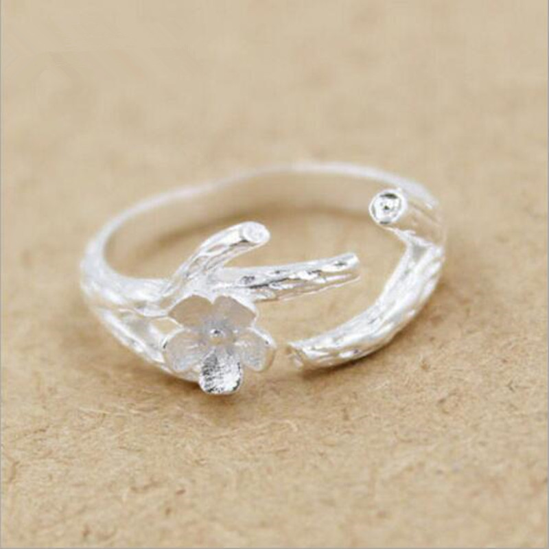 New Arrival Creative 925 Sterling Silver Fashion Jewelry Cherry Tree Branches Flower Anti-allergic Ring      SR50