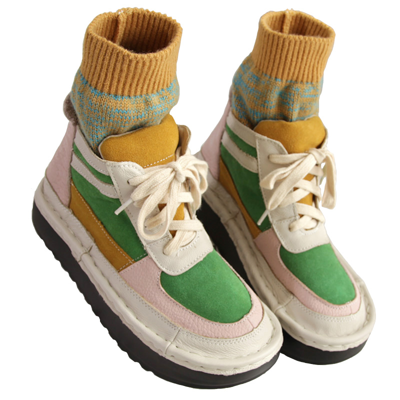 c560e13f6 Lana Japonés De Cuero naranja Botas Salvaje Chica Cordones Calcetines Retro  Tubo Genuino Color Zapatos Mori Tobillo Moda Del Martin Verde Otoño ...