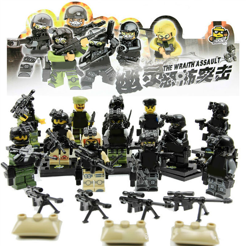12pcs with 100 Weapons!!! Armed Force Mini SWAT The Wraith Assault figure Armas Ghost Commando Action Figure Building Block Toy