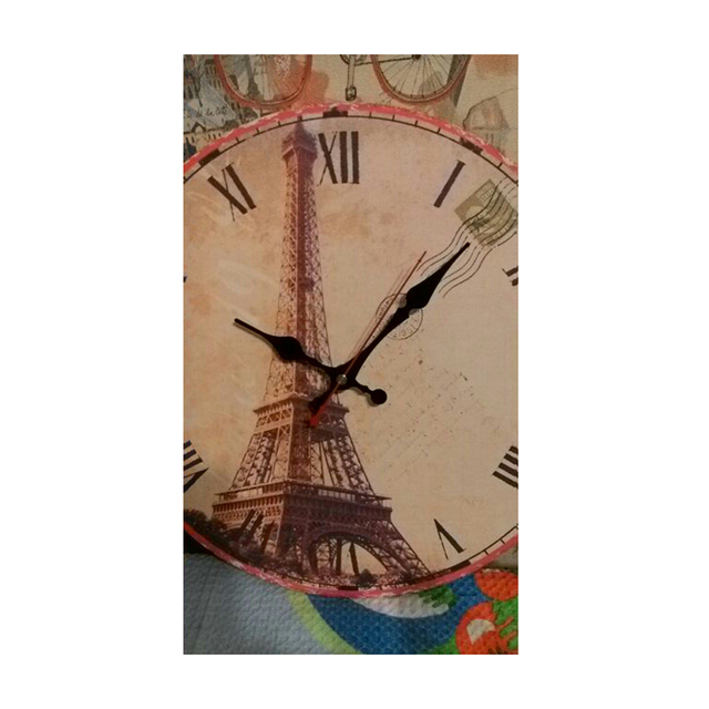 WONZOM Eiffel Tower large Paris Decorative Round Wall Clock Living Room Wall Decor Saat Fashion Silent Vintage Watch Wall Gift