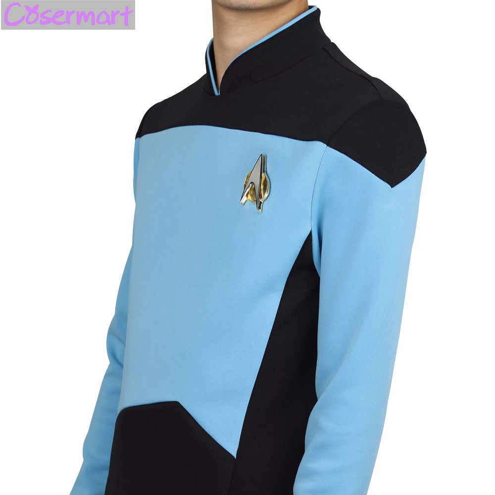 f9602245e ... Cosplay Star Trek Costume T-shirt The Next Generation Blue Uniform Tee  Cosplay TNG For ...