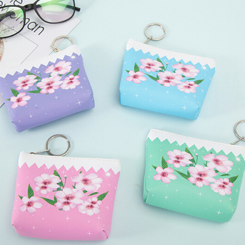 Fashion Sweet Flower Pu Leather Coin Purses Women Small Wallet Ladies Change Purse Child Girl Pink Mini Zipper Pocket