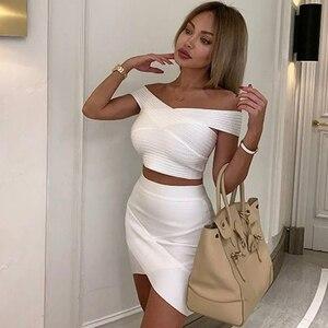 Image 1 - ADYCE 2020 Neue Sommer Frauen Bodycon Bandage Sets Kleid Vestidos 2 Zwei stück Set Top Gold V Neck Promi Abend party Kleider