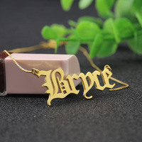 Personalized Golden Name Necklace Cut Old English Pendant Necklace Box Chain Custom Nameplate Jwewelry Birthday Gift