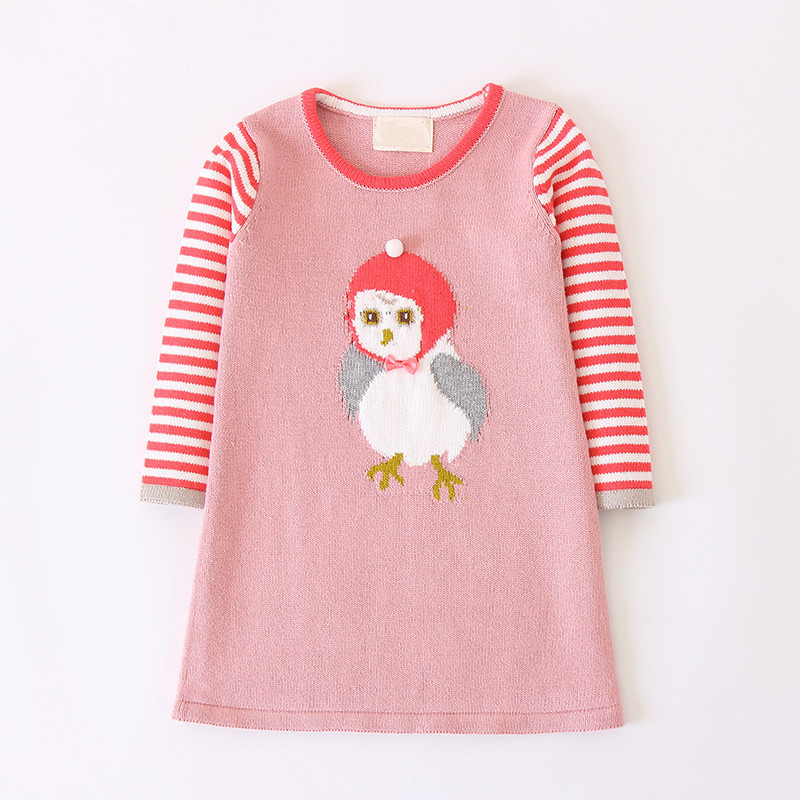Spring Autumn Baby Girls Knitted Dress Long Sleeve Kids Sweater Dress Cute Bird Baby Dress Casual Children's Clothing 2-7 years long sleeve sweater dress solid knitted side slit high waist vestidos women spring bodycon sexy dress midi dress female clothing