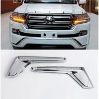 LED HEADLIGHT MOVING GRILLE LIGHT Car head lamp for land cruiser Lc200 2016 2018 Chromed Head light Streamer Car Accessories