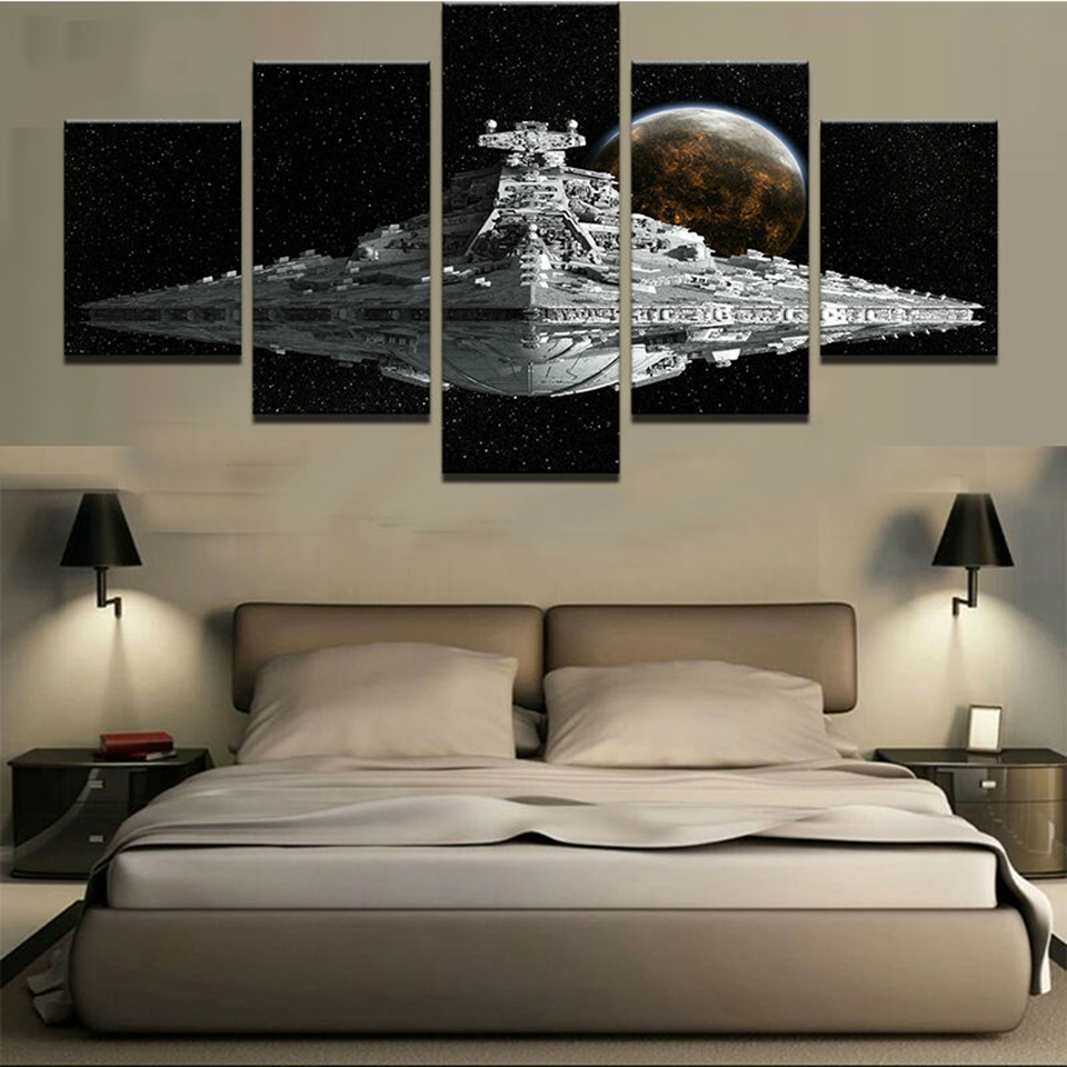 HD Prints Canvas Poster Modular Wall Art Pictures Framework 5 Pieces Movie Star Wars Spacecraft Paintings Living Room Home Decor image