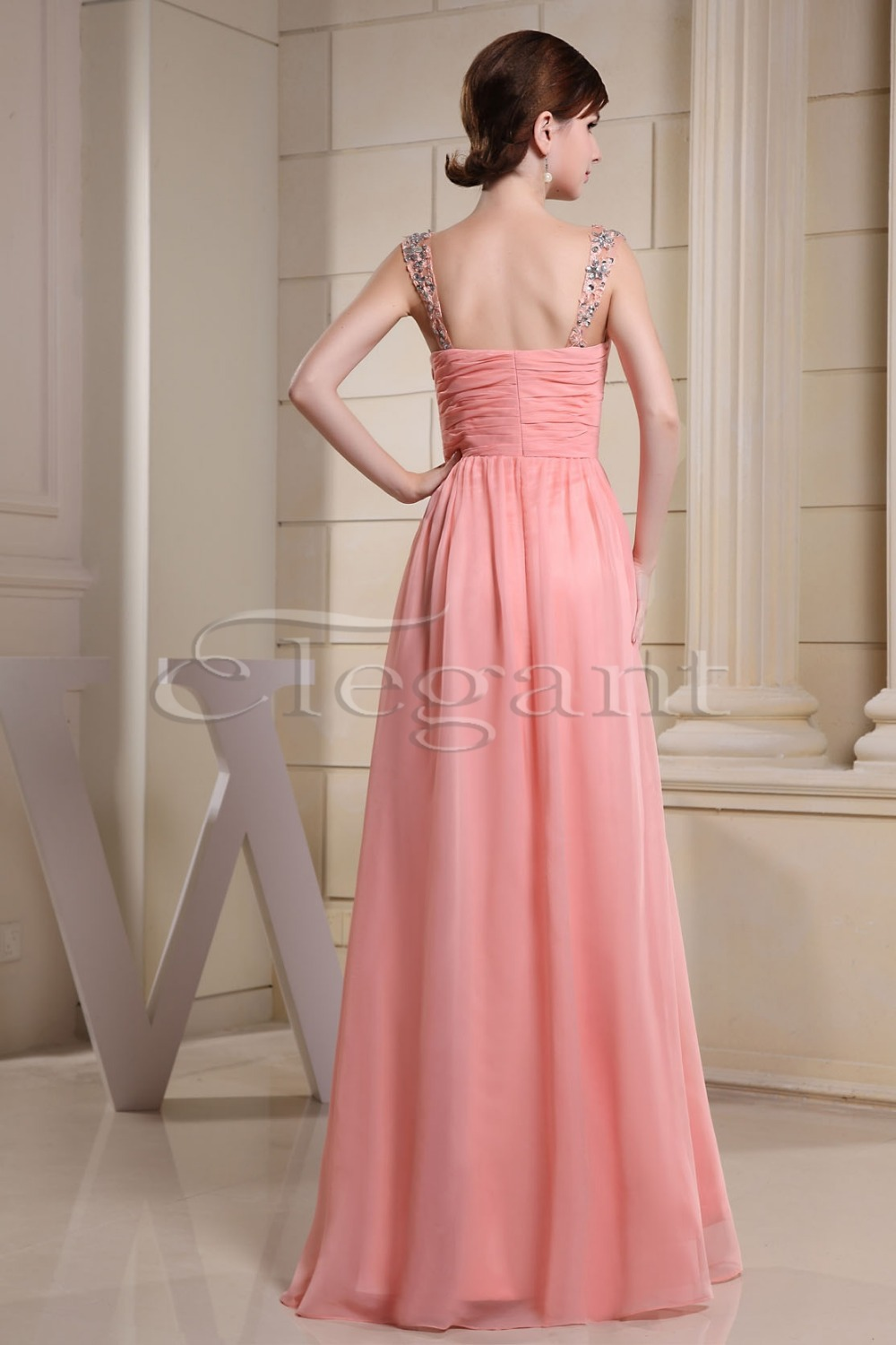 Women Beading Straps Ruched Empire Column Full Length Maxi Chiffon  Bridesmaid Dress 3026-in Bridesmaid Dresses from Weddings   Events on  Aliexpress.com ... 92c5308bd1e3