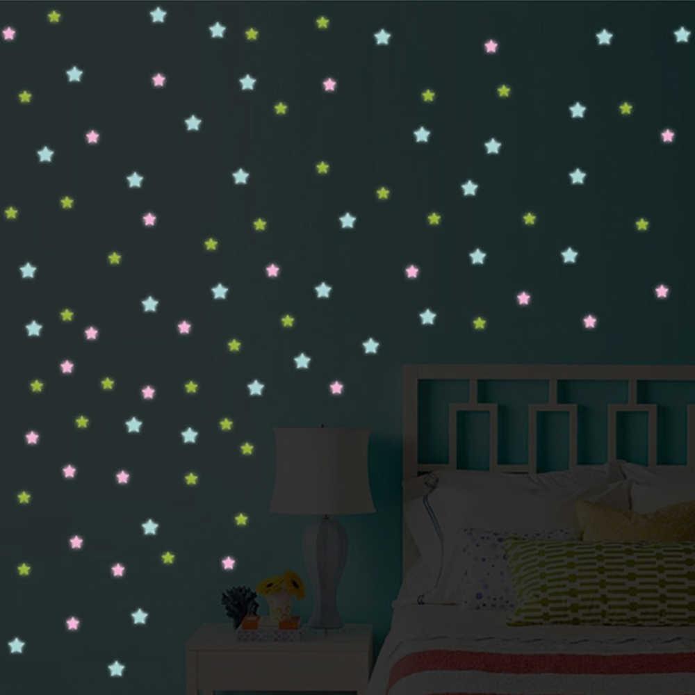 50 шт., настенные наклейки для детской комнаты, флуоресцентные светящиеся звезды, светящиеся в темноте, настенные наклейки для детской комнаты, украшения для дома, спальни
