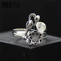 Genuine 925 Sterling Silver Female Vintage Simple Open Rings Lotus Design Fashion Jewelry For Women Opening