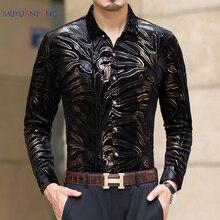 Mu Yuan Yang Nuovi uomini camicie a maniche lunghe con flanella di alta qualità nero camicia slim fit uomo abbigliamento 50% di sconto grande formato 3XL
