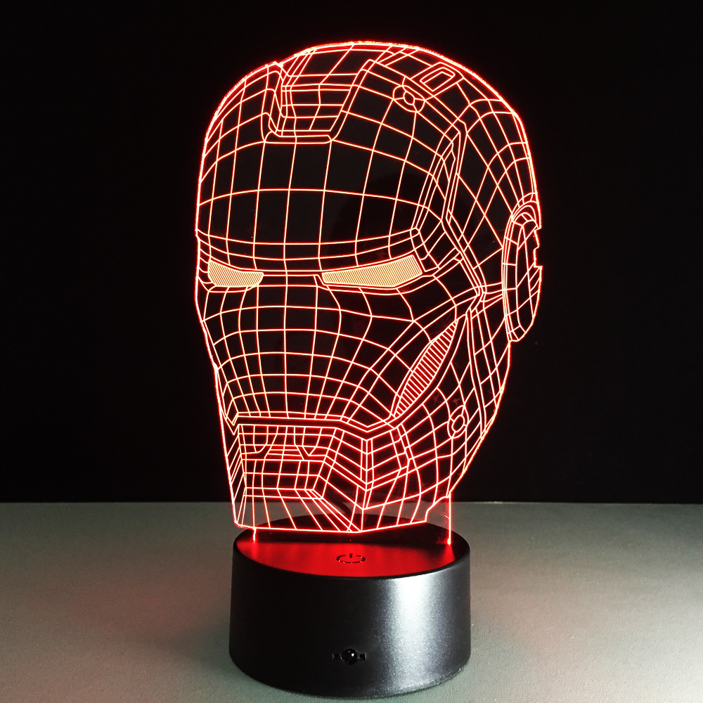 Marvel Avengers Decor Lamp 3D Art Iron Man Mask Night