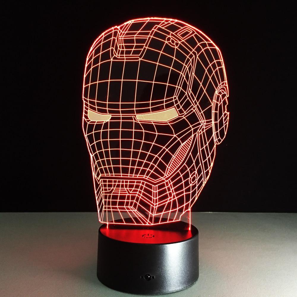 Marvel Avengers Decor Lamp 3D Art Iron Man Mask Night ...