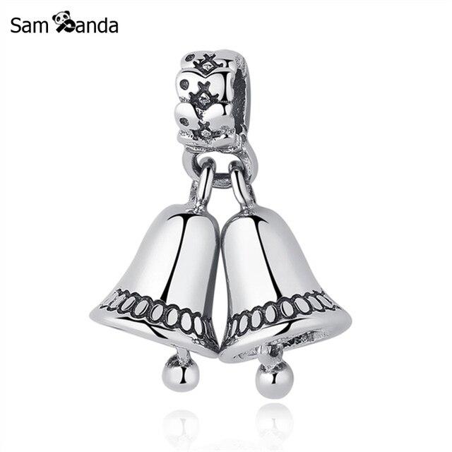 ed14a4ac6 Authentic 925 Sterling Silver Charm Bead Christmas Bells Dangle Pendant  Charms Fit Pandora Bracelets Bangles Women
