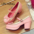 LIN KING New Arrival Women Pumps Cute Solid Buckle Ankle Strap Solid Cosplay Shoes Round Toe Thick Square Heel Short Shoes