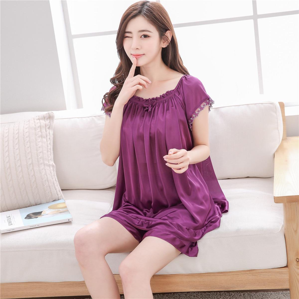 Sexy Women's   Pajamas     Sets   Lace Short Sleeve Cami Top +Shorts 2 Pieces Sleepwear Womens Sleep   Set   Faux Silk SatinFemme Lingerie