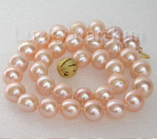 "Free Shipping 17"" 12mm round MIX white pink purple pearls necklace 925 silver clasp"