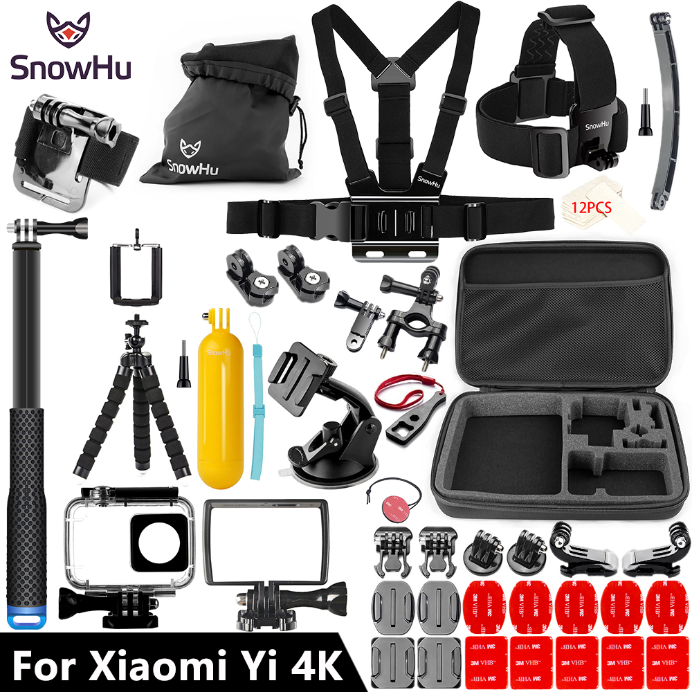 SnowHu For Xiaomi Yi Accessories set 45M Diving Sport Waterproof Box monopod mount For xiaoYi 4K 4k+Lite Action Camera Y27 waterproof aqua box водонепроницаемый кейс для xiaomi yi action 4k black