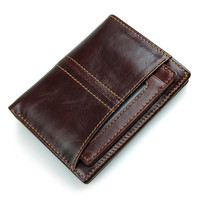 Genuine Leather Men Short Wallets Cow Leather Male Bifold Wallet Men Zipper Coin Purse High Quality